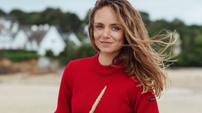 le vrai pull marin rouge made in france pour femme
