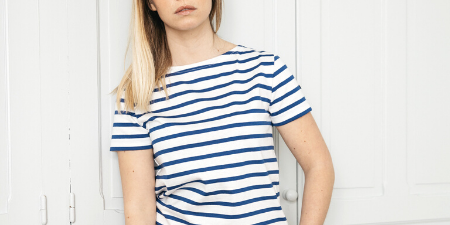 T-shirt, marinière, blanc, roy femme, coton, Le Minor, Made in France1