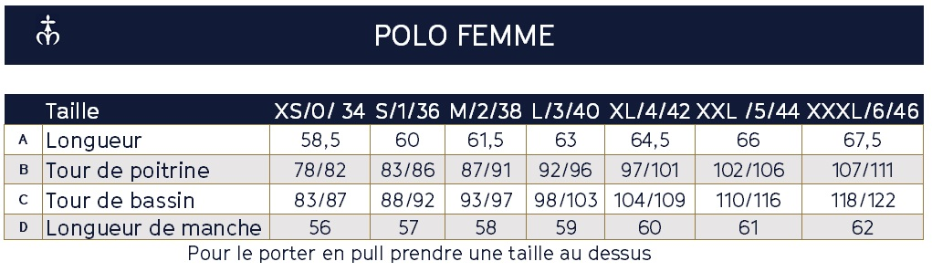 Guide des tailles du Polo de Rugby à rayures Marine et Rouge pour femme Made in France
