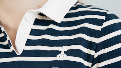 Polo de Rugby à rayures Marine/Écrue pour femme Made in France