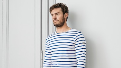 Marinière bretonne blanc/bleu roy pour homme 100% coton made in France Le Minor